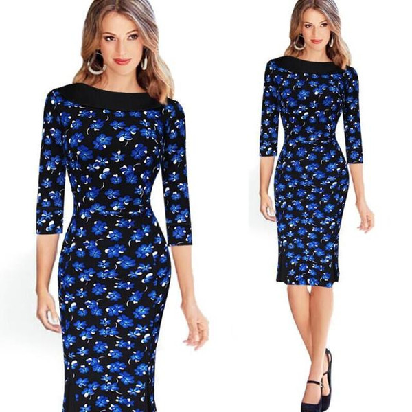 2016 European New Classic Blue Pencil Dress Orchid Peter Pan Collar Three Quarter Sleeved Knee-length Women Bodycon Dress