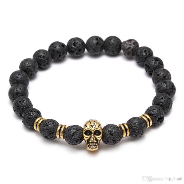 Lava Natural Stone Elastic Skull Beads Charms Bracelets Volcanic Rock Charm Bracelets Prayer Beads Bracelet Handmade Diffuser Jewelry