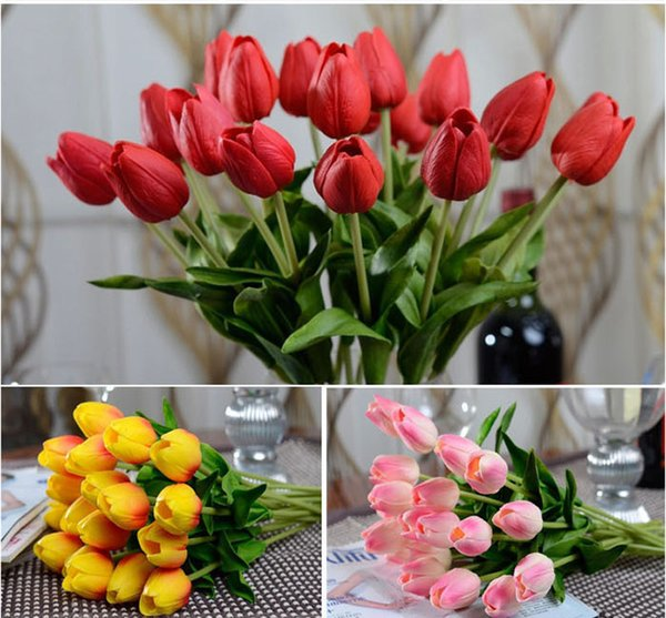 10pcs/lot Latex Real Touch Tulip Artificial Flower Bouquet for Wedding Party Home Decoration Products