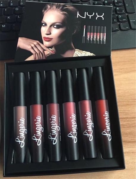 Diskont-Preis-NYX Wäsche-flüssiger Mattlippenstift 6pcs / set Luxuxsamt-Matt nackte Lippenglanz-Qualität DHL frei