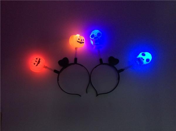 Красочная вспышка Хэллоуин тыква оголовье сценические принадлежности Хэллоуин головной убор светодиодные череп лента для волос светящийся оголовье