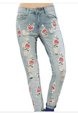 fashion brand new arrival 2015 spring women rose flower pattern hole bleached jeans pants water washed
