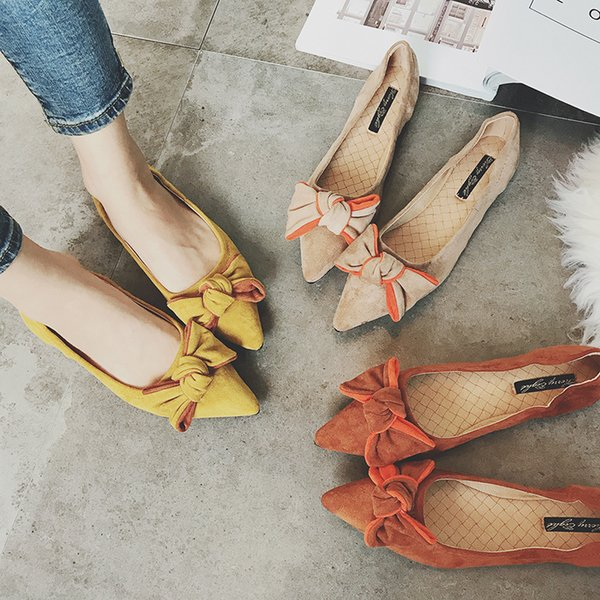 2017 Bow Knot Design Shoes Pointed Toe Flats Big Bow Moccasins Suede Leather Loafers Bowtie Espadrilles Shoes Woman Ballet Flats 142 Women Shoes Mens