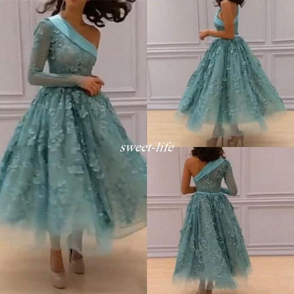 One Shoulder Prom Dresses Mint Green 3D Floral Appliques Evening Gowns Long Sleeves Ankle Length A Line Vestidos Women Formal Party Dress