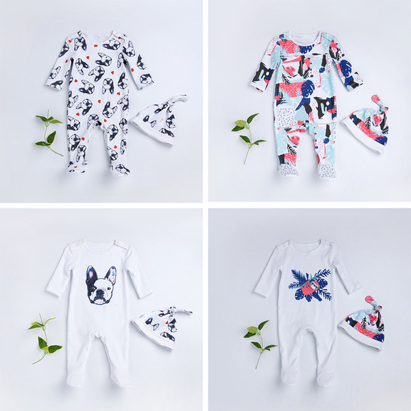 Dogs & Flower Print Romper Two-piece Clothes Sets Autumn Newborn Baby Infant Yellow Long Sleeve Jumpsuit +Hat Outfit 2pcs