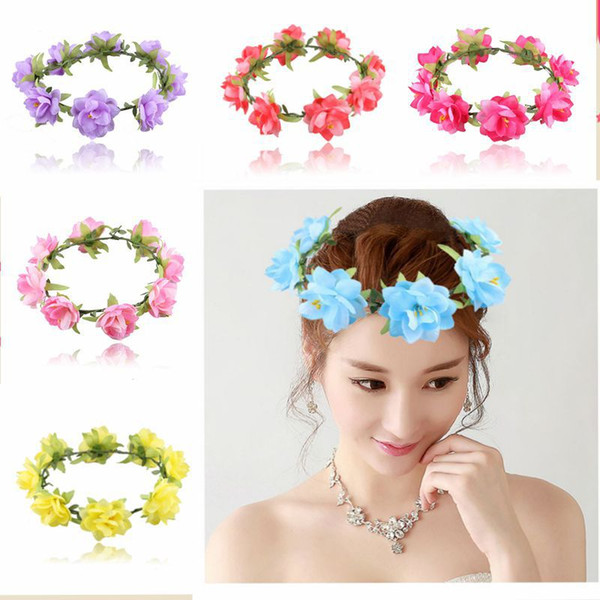 DHL Free Shipping Bohemian Style seaside garland Bride and bridesmaids garland Wedding Hair Jewelry Rose Flower hair band Travel accessories