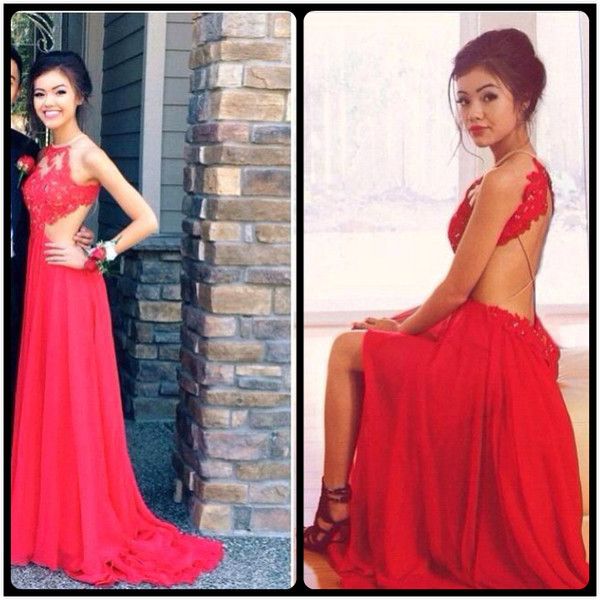 Sexy Open Back Halter Lace Side Slit Red Long Prom Dress 2016 Custom Made Elegant Evening Gown Vestido De Festa