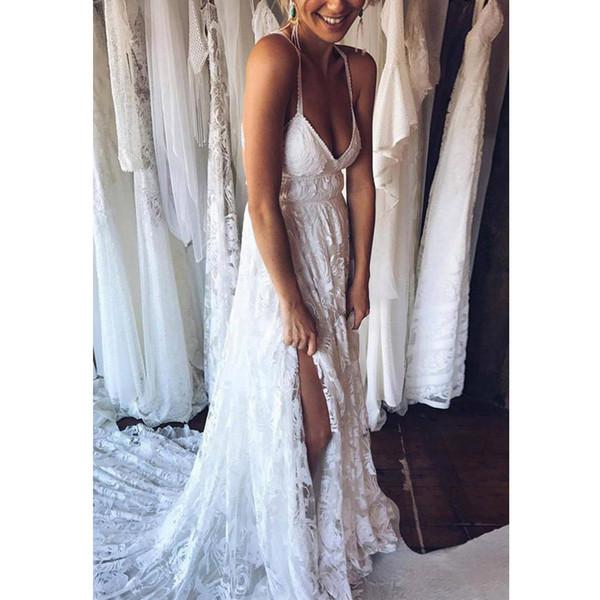 2018 Sexy Spaghetti Straps Backless Wedding Dress Embroidery Sweetheart High Slit Sleeveless Wedding Gowns Vestido De Novia