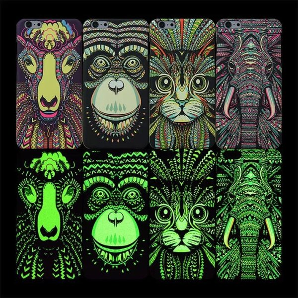 For iphone 7 Luminous Animals Pattern Case Lion Tiger Wolf Protective Printing TPU Case For Iphone 6s 7 Plus Forest King Cover