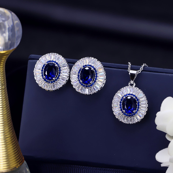 top popular Europe and America Elegant Bride Jewelry Set White Gold Plated White Blue Green Red Zircon Round Earrings Necklace for Women LY-069 2021