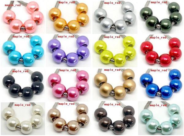 100PCS mischte PImitation Perlen-Charme für den Schmuck, der lose europäische große Loch-Acrylkorne passte europäisches Armband-niedriger Preis