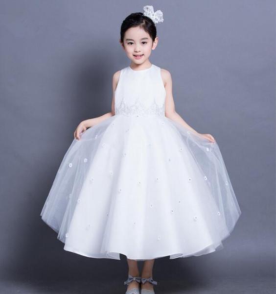 Bebek kız gelinlik En Kaliteli Kızlar Beyaz A-line dantel elbiseler zarif Kız Doğum Günü Partisi Elbise 1-10 Yıl