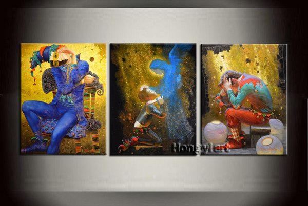 3 Panel Home Decor Art Painting Large Modern Contemporary Fantasy Circus Clown Oil Painting HD Picture Giclee Print Wall Room Printed Canvas