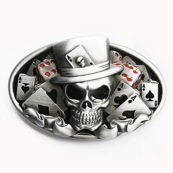 Nueva Cráneo Original Cráneo Cinturón Hebilla Dados Skull Tattoo Poker Casino Hebilla de Correa Gurtalschnalle Boucle de Ceinture CS036 Envío Gratis