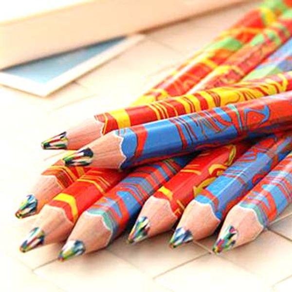Free Shipping 20pcs/lot Mixed Colors Rainbow Pencil Art Drawing Pencils Writing Sketches Children Graffiti Pen School Supplies Papelaria