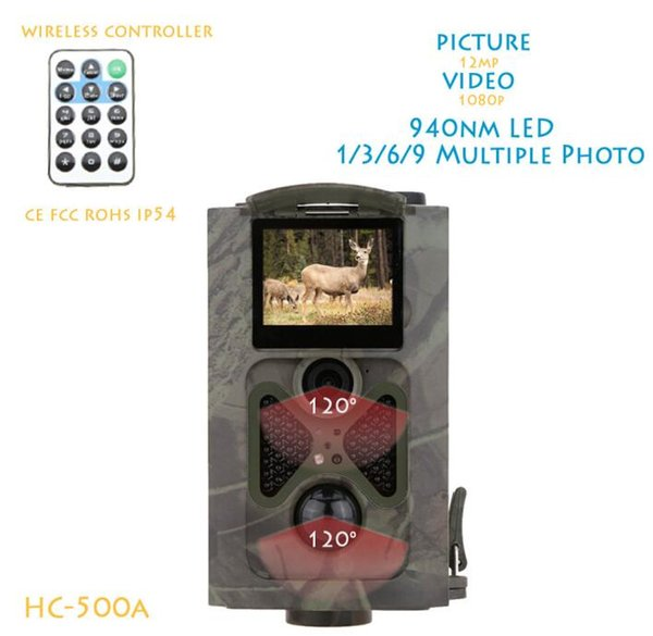 free shipping 940NM IR LED Night Vision Wildlife Hunting Camera 12MP HD Digital Infrared Scouting Trail Video Recorder 120degree Wide Lens