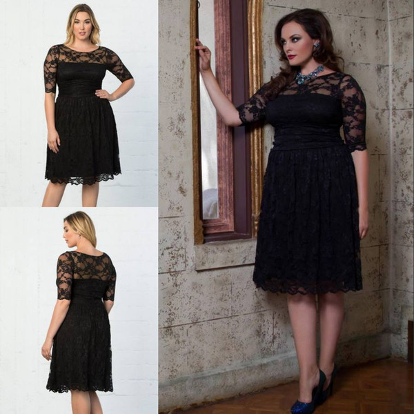 Elegant Black Plus Size Lace Formal Dresses With Half Sleeves Sheer Bateau  Neck Knee Length Evening Gowns A Line Cheap Short Prom Dress Shop Plus Size  ...