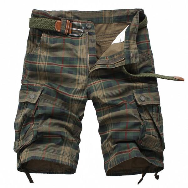 Al por mayor-camuflaje Plaid diseño para hombre pantalones cortos bolsillos multiusos Bermuda del ejército verde cortocircuitos moda masculina 2016 algodón cortocircuitos flojos homme Venta