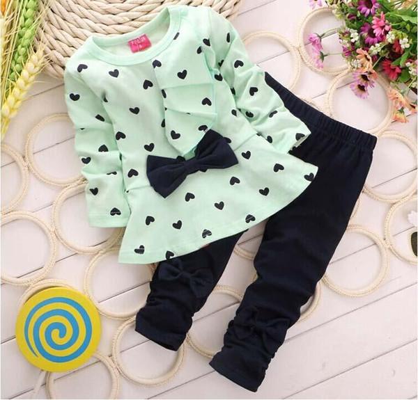 Girls sets kids tracksuit kids 100% cotton dot flouncing dress and pant 2pcs/sets 3 colors size 1-4T 2016 autumn winter sets.