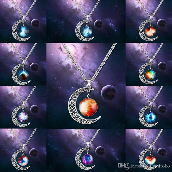 Vintage starry Moon Outer space Universe Gemstone Pendant Necklaces 12 styles For Couples Valentine's day Christmas gift