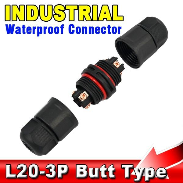 10pcs Industrial Butt Type IP67 3Pin Waterproof Connector Adapter Cable Electrical Wire Adapter plug for PCB LED Strip Light