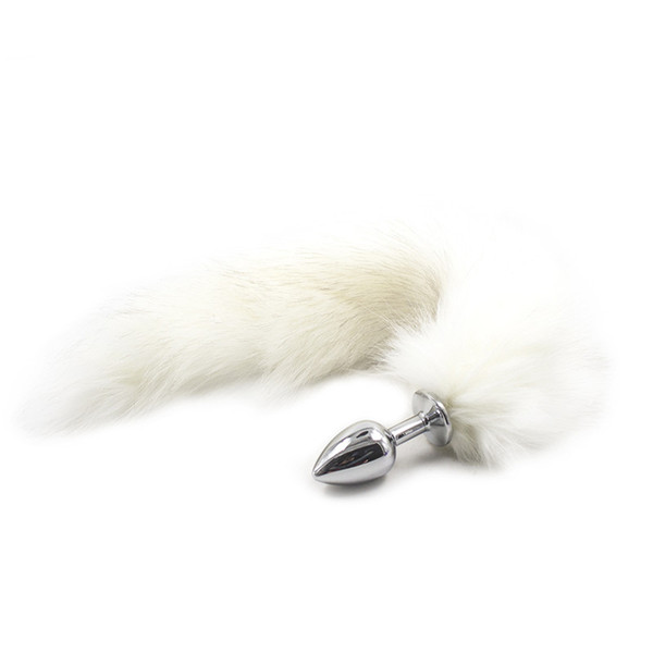 Silver Metal Anal Plug With Black White Fox Tail Stainless Steel Butt Bullet Dog Slave Cosplay Tails Backyard Dildo Temptation