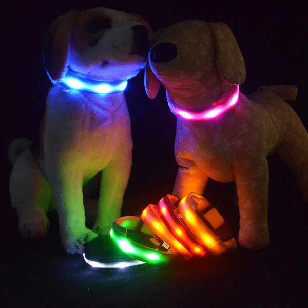 HOT Cute Glow Nylon Pet Dog Cat Collar Night Safety colorful animal LED Light-up Flashing Glow in the Dark Lighted Dogs Collars