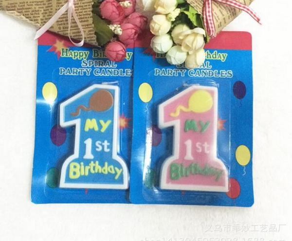 100sets/lot, Creative one digital big candle Happy Birthday Candles Cake Candles Kids Parties Decor