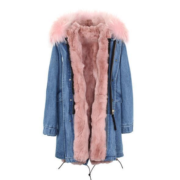 Jazzevar brand Light pink Grass rabbit fur liner long Washed shell blue demin long jackets snow parka