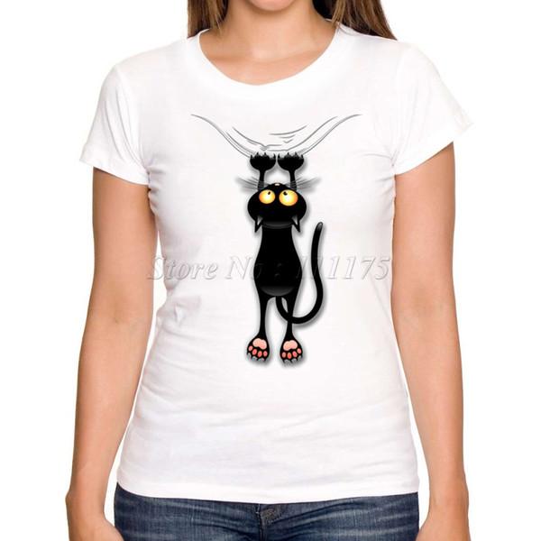 Toptan-2017 Kadın Moda Eğlenceli Siyah Kedi Düşen Aşağı Tasarım Kısa Kollu T gömlek Lady Fantastik Baskılı Yaz Tees Tops