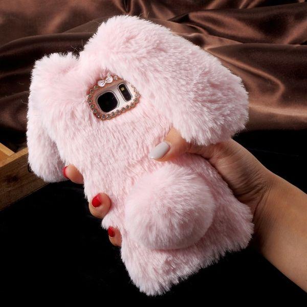 Fluffy Thick Hairs Phone Case For Samsung S6 S6Edge S7 S7Edge S8 Cute Fuzzy Hair capas para Cute Rhinestone Luxury Phone Fundas Rabbit Ears