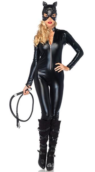 Collants en cuir verni noir fille chat siamois épée épée Cosplay Halloween jour catwoman Costume masqué costumes sexy livraison gratuite