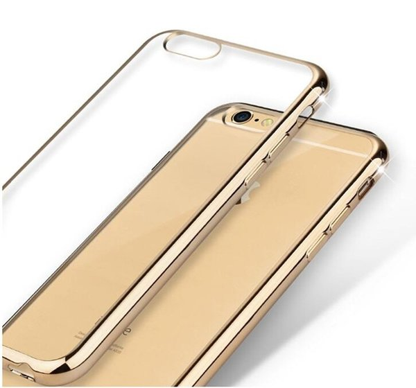 Ultrathin Slim Frosted Matte Case Electroplate Soft TPU Transparent Clear Cover Skin for iPhone 7 8 X 6 6S plus 5 5s se Gold Bumper