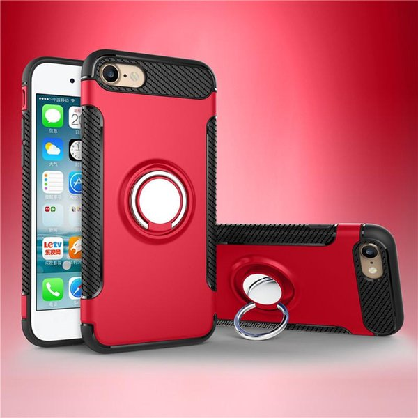 free shipping Hybrid TPU+PC Armor Case Shock-Proof Cases 360 Ring Stand Holder Magnetic Back Cover For iPhone 8 7 6S Plus Samsung S8 S7 Edge