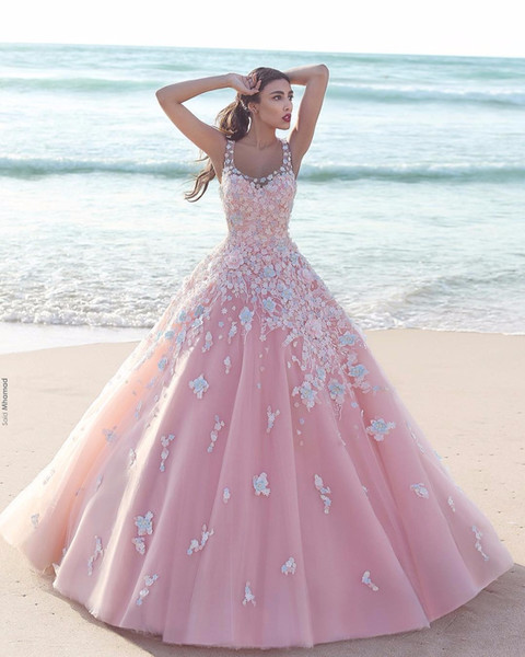 Princess Floral Flower Pink Ball Gown Quinceanera Dresses 2018 Applique Tulle Scoop Sleeveless Lace Bodice Long Prom Dresses Formal Party