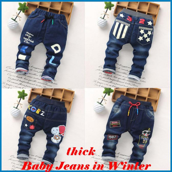 kids pants boys Girl Boys' Jeans Baby New Winter Children Jeans Trousers Thick Jeans And Cotton Children's Cartoon Printing ouc021 DHL