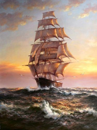 Framed ship big sail boat on ocean in sunset,Free Shipping Hand-painted /HD Print Seascape Art oil painting On Canvas,Multi sizes