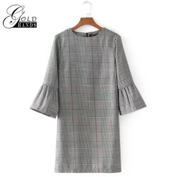 Gold Hands Autumn Spring Women's Vintage Casual Brief Loose Style Dress Outer Street Basic Plaid Flare Sleeve Fashion Home Dresses