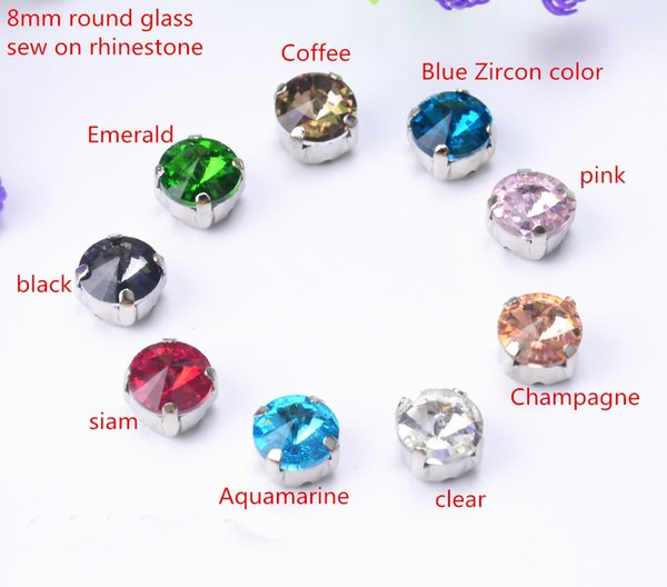 free shippment! 50 pcs/lot 8mm Rivoli Round Sew On button Glass Crystal Stone Buttons with metal claw setting for diy garment