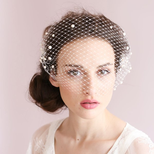 Vintage Birdcage Wedding Veils Face Blusher Wedding Hair Pieces One Tier With Pearls Comb Short Bridal Headpieces Bridal Veils #V014