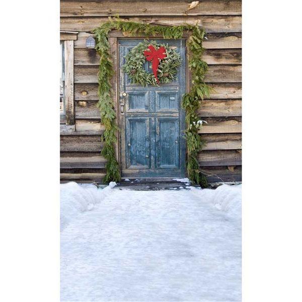 Ahşap Kabin Mavi Kapı Kış Kar Noel Fotoğrafçılığı Zemin Yeşil Çelenk Açık Doğal Çocuk Çocuk Stüdyo Fotoğraf Çekimi Arkaplan