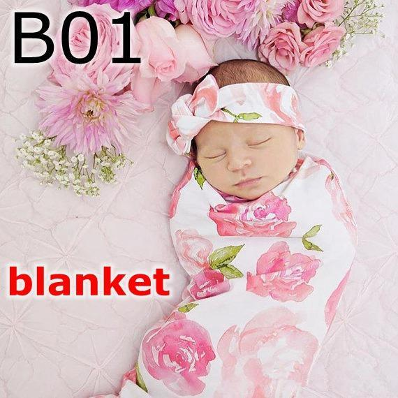 Newborn Swaddle 2pc set Infant flower rabbit ears headband hat + swaddle receiving blankets rose floral print 10Colors