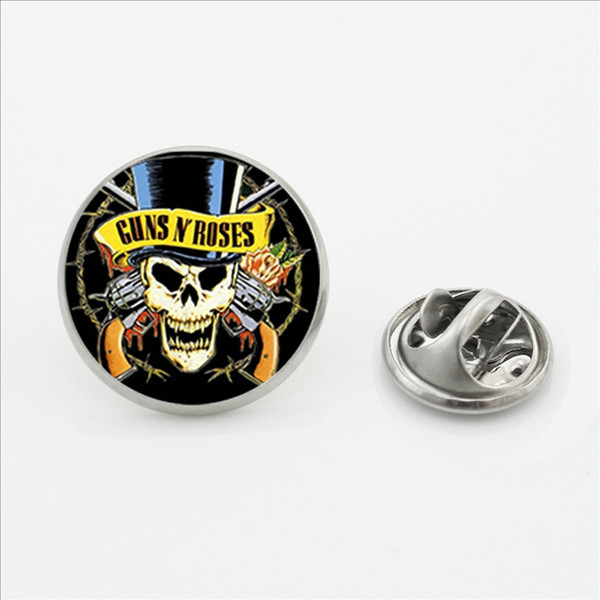 New Fashion Guns N Roses Lapel Pins Steampunk Glass Dome Rock And Roll Band Butterfly Brooches Pin Music Guns N Roses Color Pin