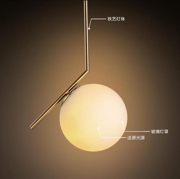 North Europe LED Glass globe pendant light minimalist light restautant pendant lights bedroom living room lighting fixture AC85-265V
