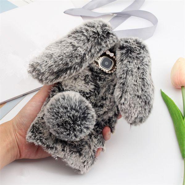 Caso della copertura della sfera della pelliccia della cassa TPU della peluche sveglia del peluche del coniglio sveglio per iPhone X Xr Xs massimo 8 7 6 6S più Sumsung S8 S9 più nota 8 9