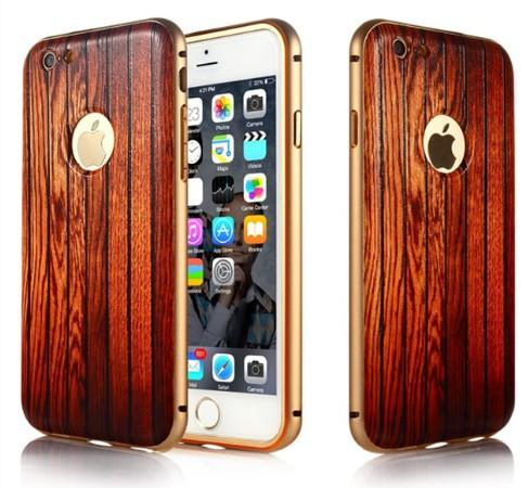 Free Shipping Wood Grain PC Back Cover Aluminium Metal Frame Bumper Hard Fitted Phone Case Cover Skin for Apple iPhone 6 Iphone6plus 5.5''