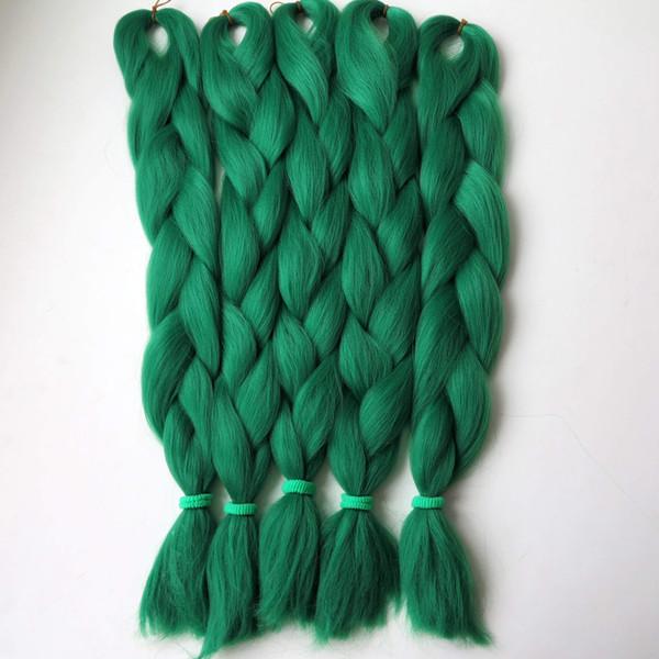 top popular Kanekalon Jumbo braiding hair 24inch Folded 80grams Solid Dark Green Color STFG43 Synthetic Braids Hair Extension Free shipping 2019
