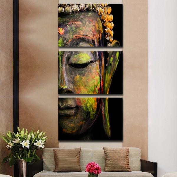 3 Teile / satz Buddha ölgemälde wandkunst gemälde bild paiting leinwand farben wohnkultur Giveaways wandaufkleber (Kein Rahmen)