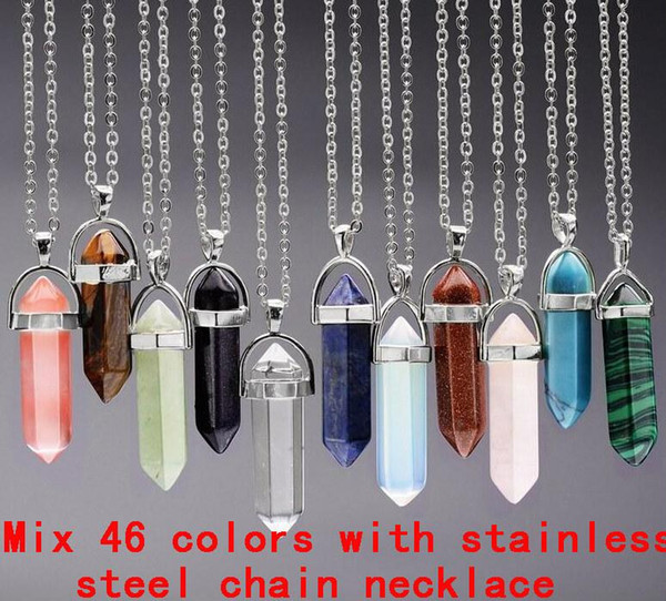 top popular Necklace Jewelry Cheap Healing Crystals Amethyst Rose Quartz Bead Chakra Healing Point Women Men Natural Stone Pendants Leather Necklaces 2020