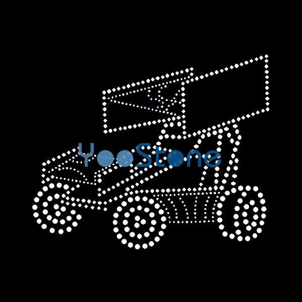 top popular Sprint Car Rhinestone Transfer Iron On Hot Fix Applique Hot Fix Motif 2021